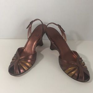 Cole Haan Copper Leather Kolina Wedge Size 7.5 B